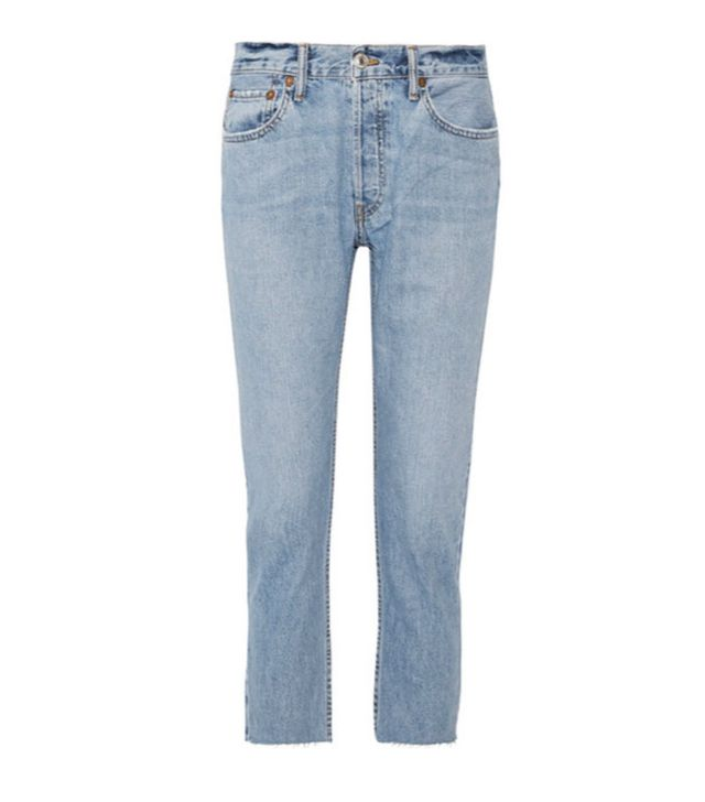 Re/Done Originals Relaxed Crop Frayed Slim Boyfriend Jeans
