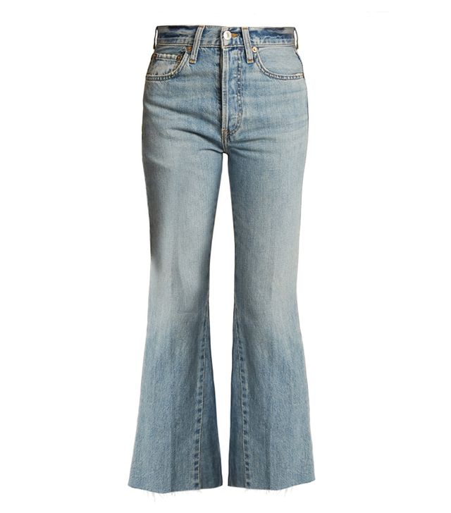 Re/Done The Leandra High-Rise Flared Cropped Jeans