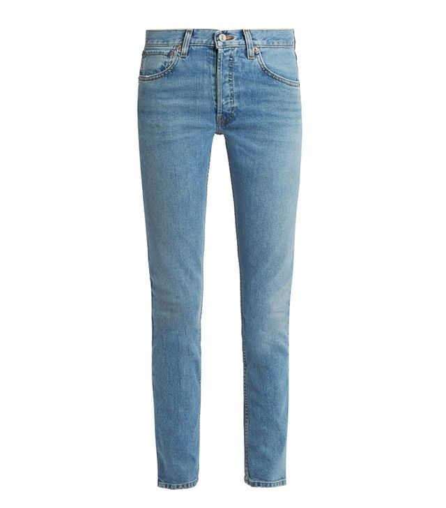 Re/Done High-Rise Straight Skinny-Leg Jeans