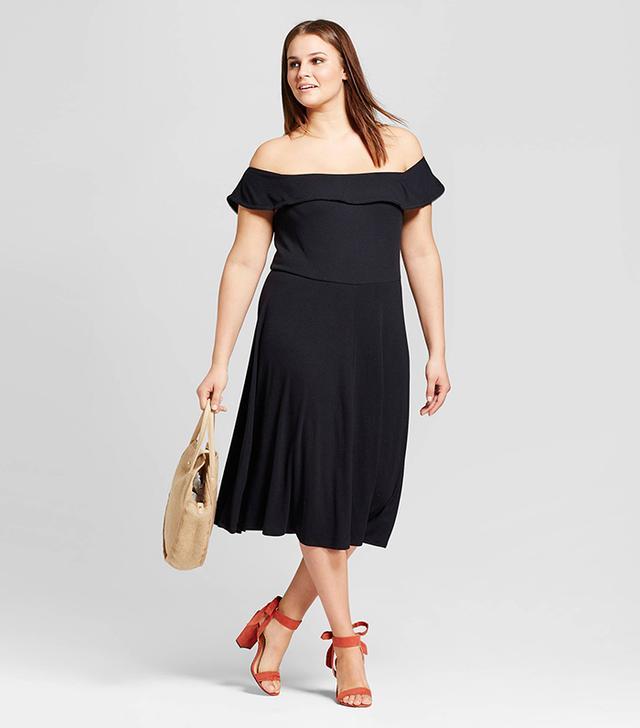 Who What Wear Rib Bardot Dress