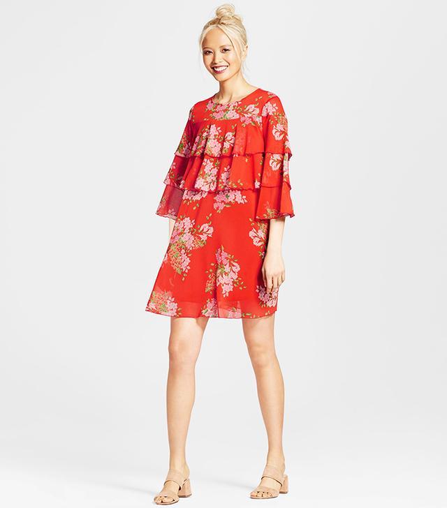 Who What Wear Layered Ruffle Mini Dress