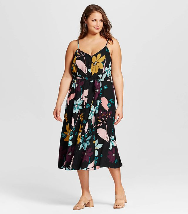 Who What Wear Button Down Tank Dress in Multi Floral