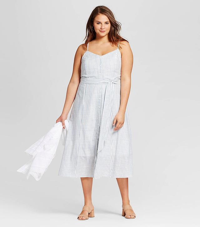Who What Wear Button Down Tank Dress in Blue Stripe