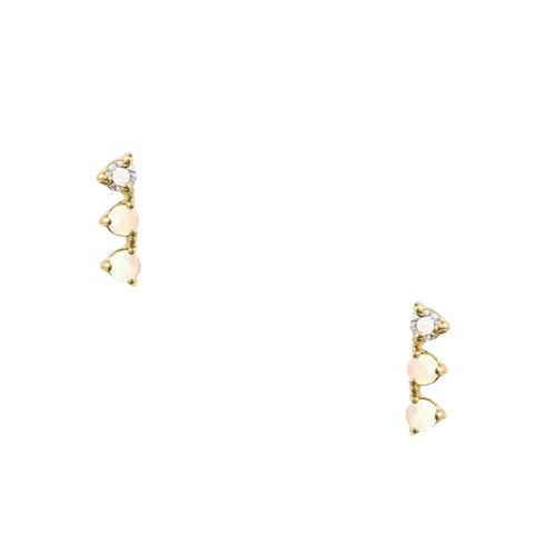 Blush Opal and Diamond Three-Step Earrings