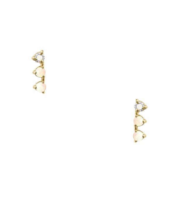 diamond opal earrings