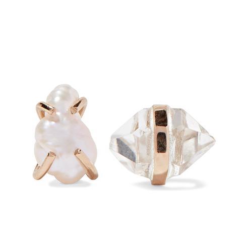 14-Karat Gold Herkimer Diamond and Pearl Earrings