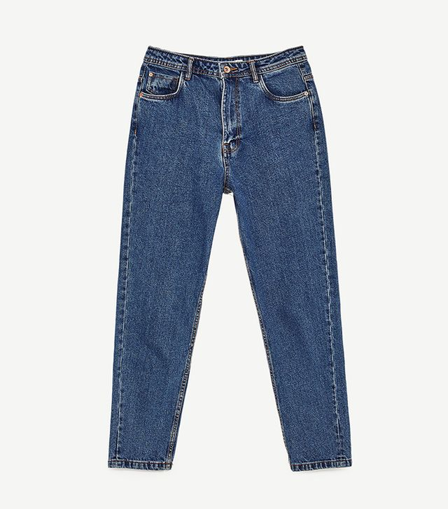 Zara Distressed High-Rise Mom Fit Jeans