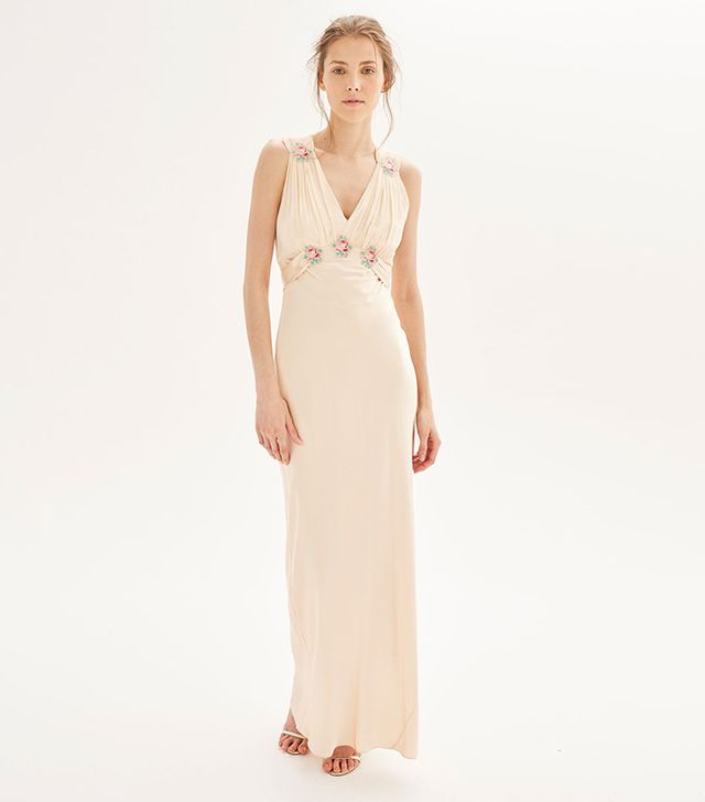 *Silk Embroidered Maxi Dress