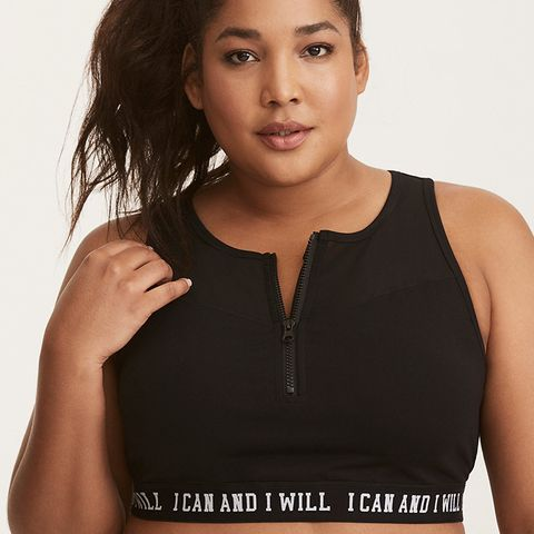 I Can I Will Zip Front Mesh Inset Sports Bra