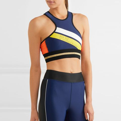 The Asset Crop Metallic-Trimmed Stretch Sports Bra