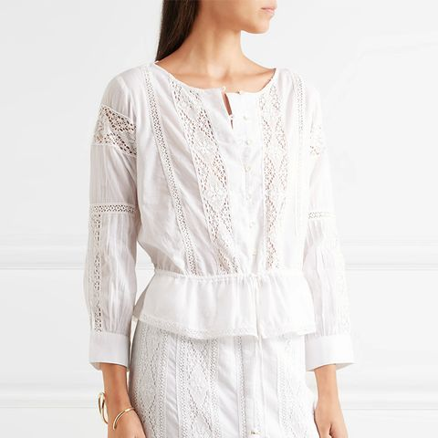 Ellie Crocheted Lace-Paneled Cotton Blouse