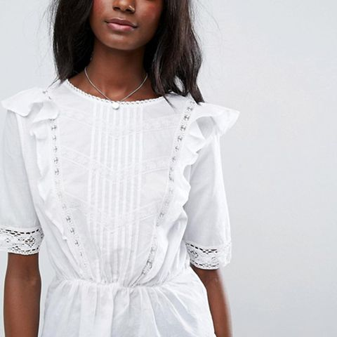 Cotton Ruffle Front Top With Lace and Pintuck Detail