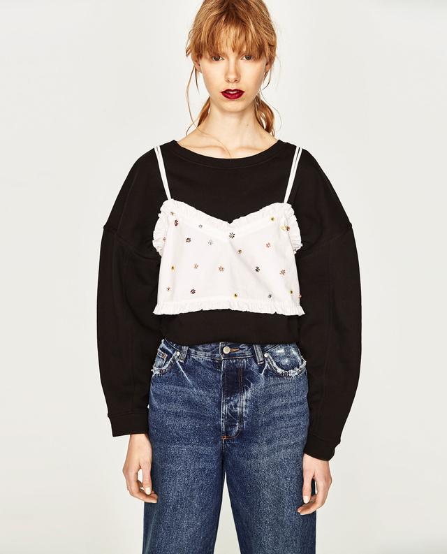 Zara Embellished Crop Top