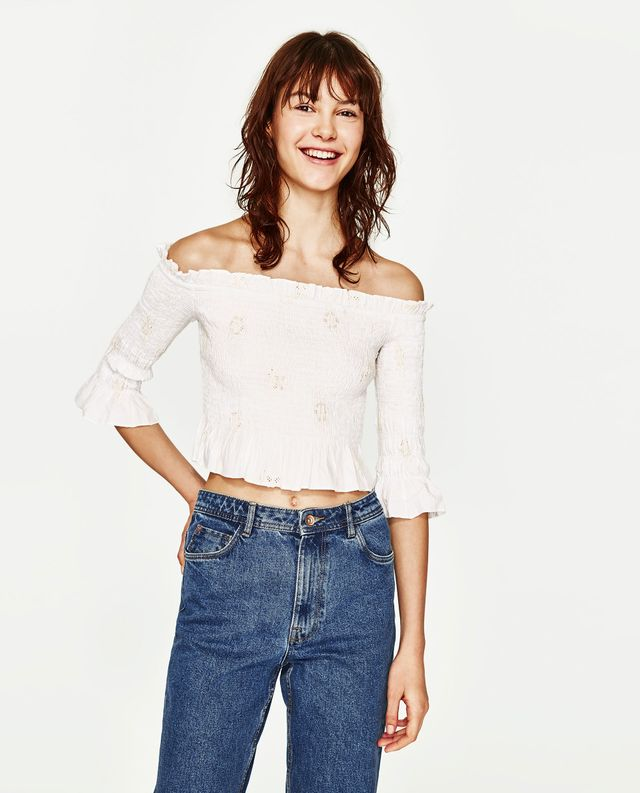 Zara Embroidered Stretch Top