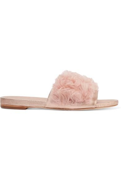 Domino Metallic Leather And Shearling Slides