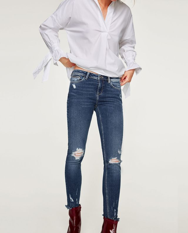 Zara Mid-Rise Jeans With Shiny Trims