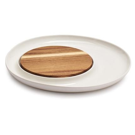 Porcelain and Acacia Wood Cheese Platter