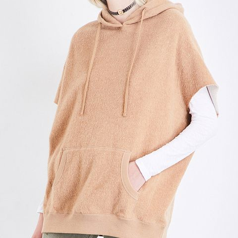 Short-Sleeved Cotton and Camel-Blend Hoodie