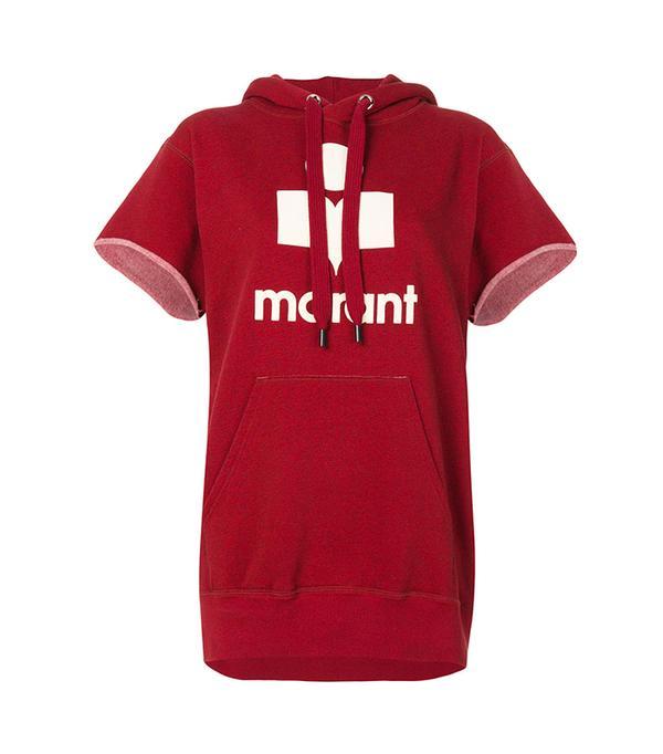 short sleeve logo hoodie