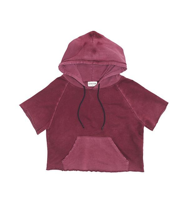 short sleeve cropped hoodie