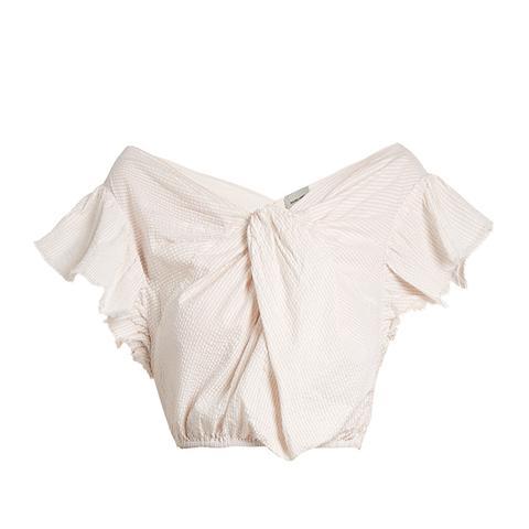 Crush Cotton-Seersucker Cropped Top