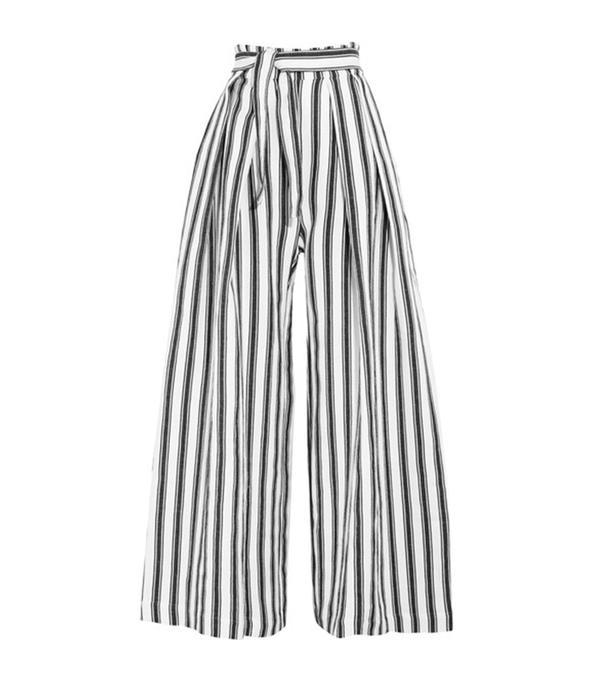 Rosalinda Linen And Cotton-blend Wide-leg Pants