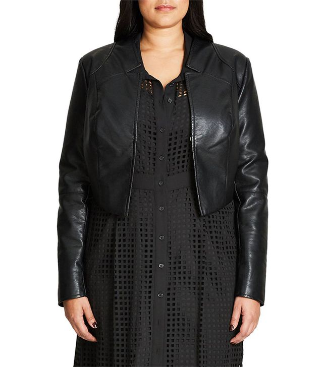 Sleek Faux Leather Bolero