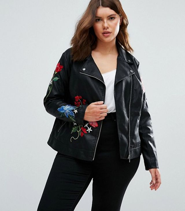Plus Size Floral Moto Jacket