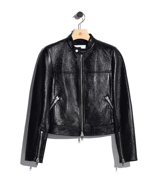 Vinyl motorcycle jacket-BLACK
