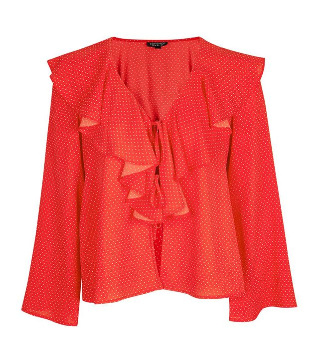 Ditsy Spot Tie Front Frill Top