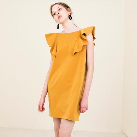 16ss Mustard Ruffle Dress