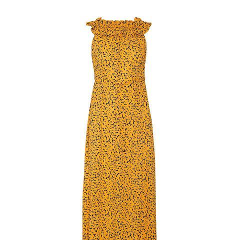 Belted Printed Stretch-Crepe Midi Dress