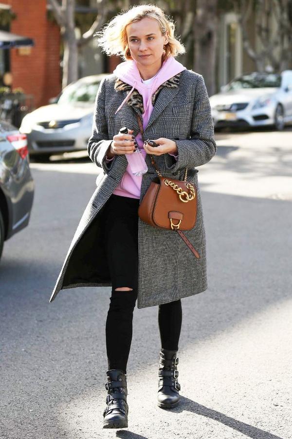 Diane Kruger style - pink hoodie