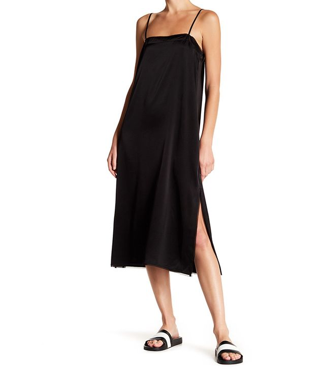 black slip dress square neckline