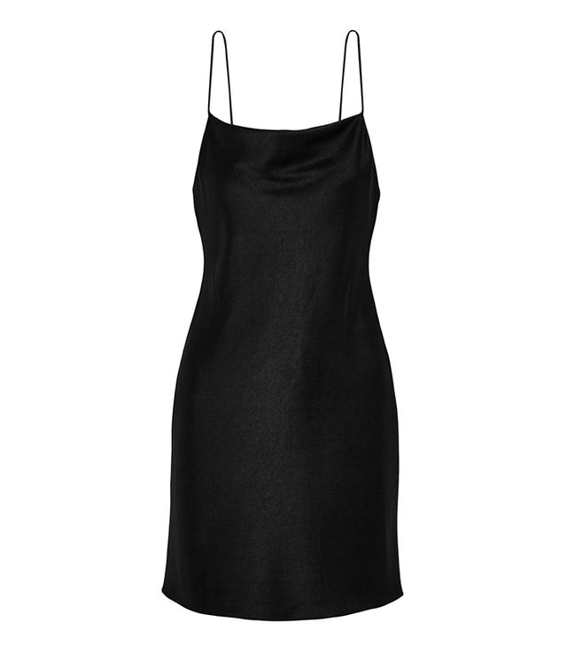 black mini slip dress