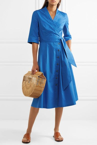 Mae-B Wrap-Effect Cotton-Blend Poplin Midi Dress