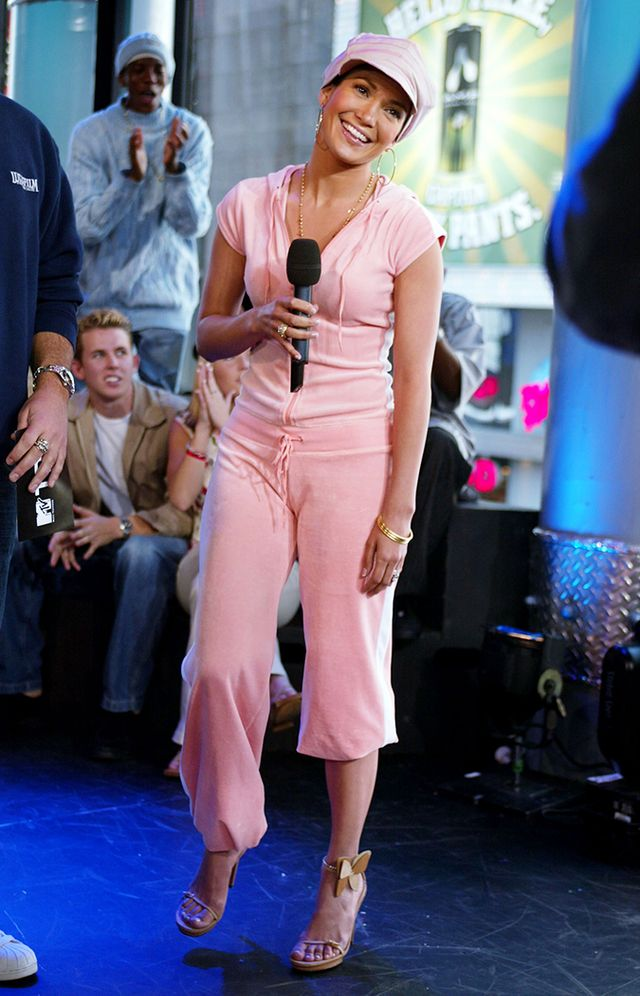 jennifer lopez 2000s fashion juicy couture tracksuit
