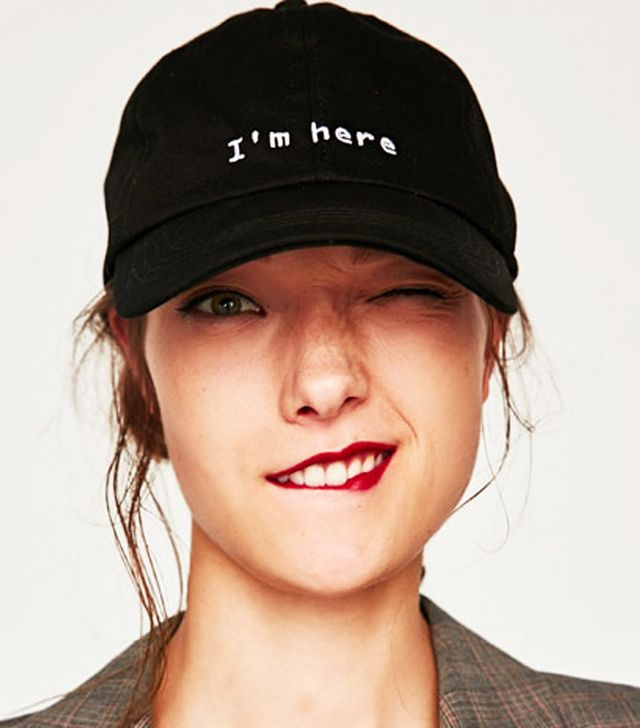 Best slogan caps: 'I'm here' Zara cap