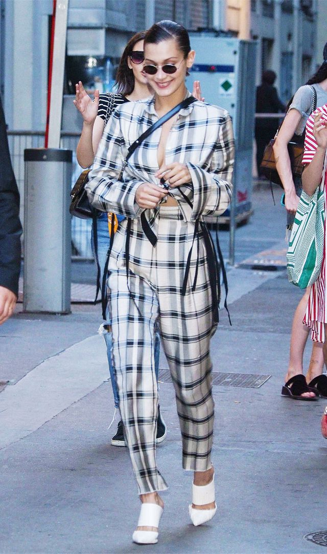 Bella Hadid noughties style: Plaid outfit