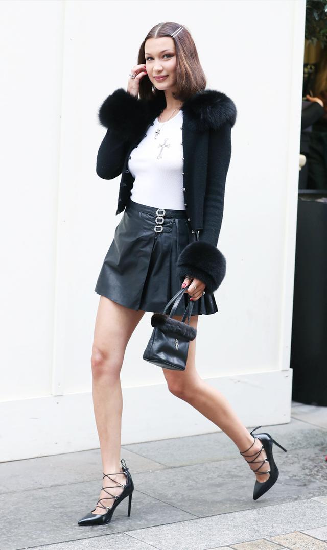 Bella Hadid noughties style: Black furry top