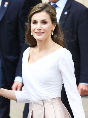 Queen Letizia Wore a $40 Topshop Skirt on Her Royal Visit to London