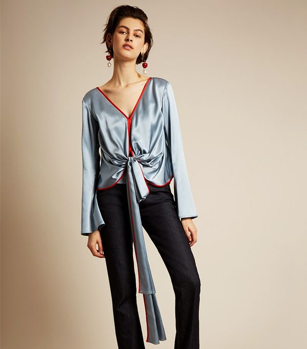 Tie-front V-neck silk-charmeuse blouse