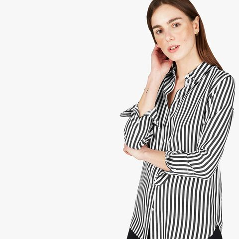 Relaxed Silk Shirt by Everlane in Bold Stripe