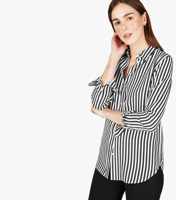 Women's Relaxed Silk Shirt by Everlane in Bold Stripe, Size 0