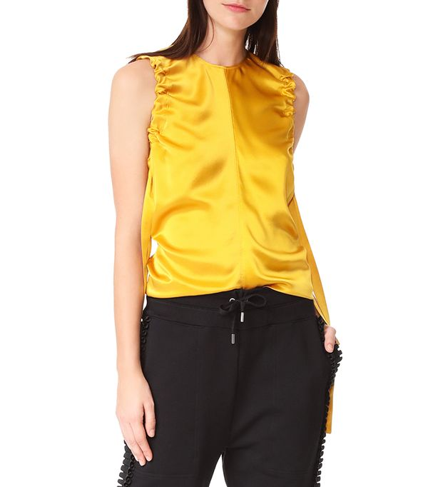 Armhole Ruched Silk Tank