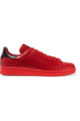 - + Raf Simons Stan Smith Perforated Leather Sneakers - Red