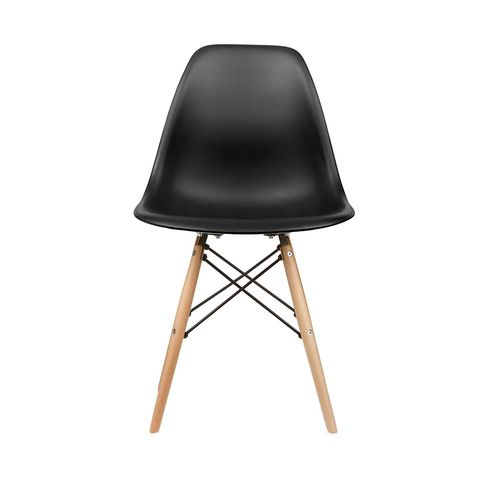 Eames Style Side Chair in Black, Set of 2