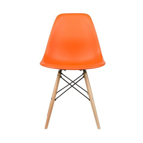 Eames Style Side Chair in Orange, Set of 2