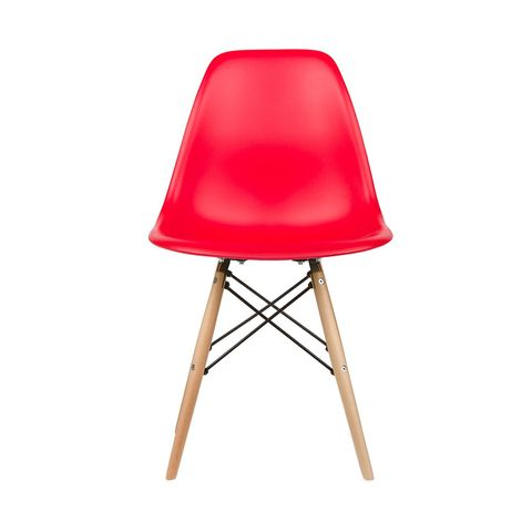 Eames Style Side Chair in Red, Set of 2