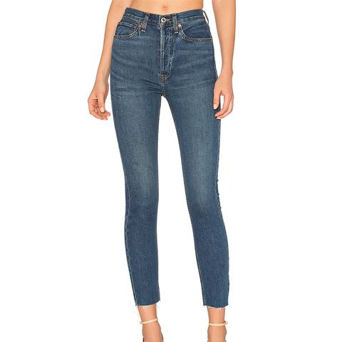 High Rise Ankle Crop Jeans in Dark